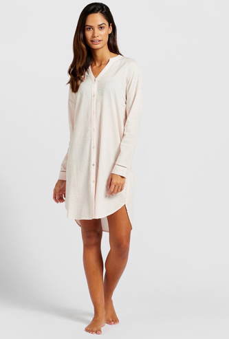 Striped Sleepshirt with V-neck and Long Sleeves