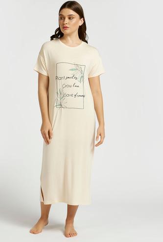 Printed Round Neck Sleepshirt with Short Sleeves