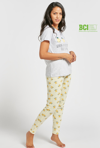 Graphic Print T-shirt and Full Length Pyjama Set