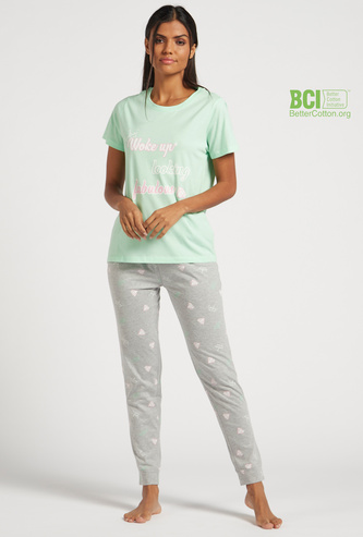 Text Print Short Sleeves T-shirt and All-over Print Pyjama Set
