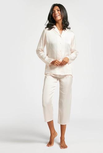 Solid Long Sleeves Sleepshirt and 3/4 Pyjama Set