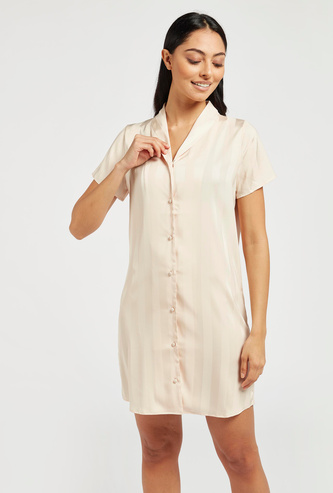 Striped Sleepshirt with V-neck and Short Sleeves