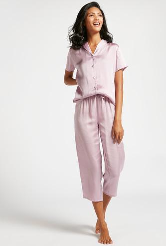 Solid Short Sleeves Sleepshirt and 3/4 Pyjama Set