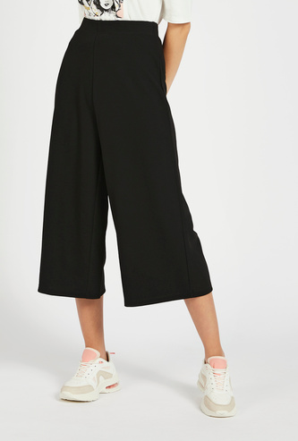 Textured Mid-Rise Culottes with Elasticised Waistband