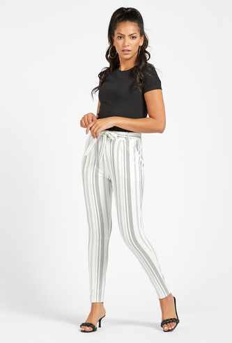 Striped Mid-Rise Ankle Length Pants with Pockets and Tie-Up Belt