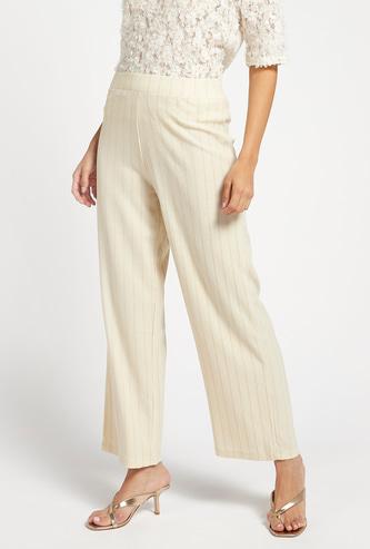 Ankle Length Striped Lurex Mid-Rise Wide Leg Pants