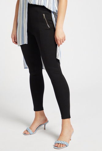 Solid Mid-Rise Ponte Leggings with Elasticised Waistband