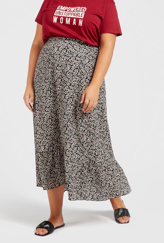 All-Over Floral Print Midi Tiered Skirt with Elasticised Waistband