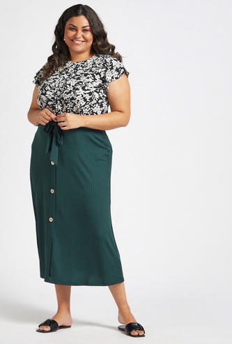 Textured Midi A-line Skirt with Tie-Ups and Button Detail