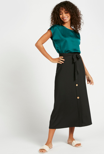 Textured Midi A-line Skirt with Tie-Up Waist