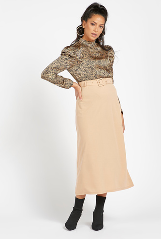 Solid Midi A-Line Skirt with Buckle Detail