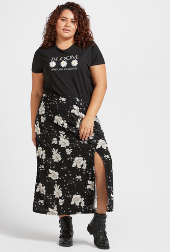 All-Over Floral Print A-line Skirt with Front Slit and Elasticised Waistband