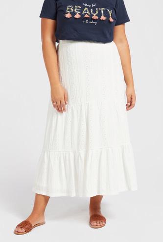 Schiffli Detail Midi Tiered Skirt with Elasticised Waistband