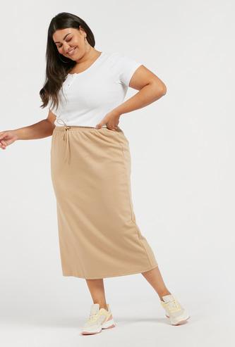 Solid Midi Pencil Skirt with Drawstring Closure