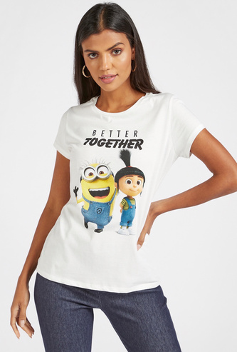 Minion Print Round Neck T-shirt with Short Sleeves