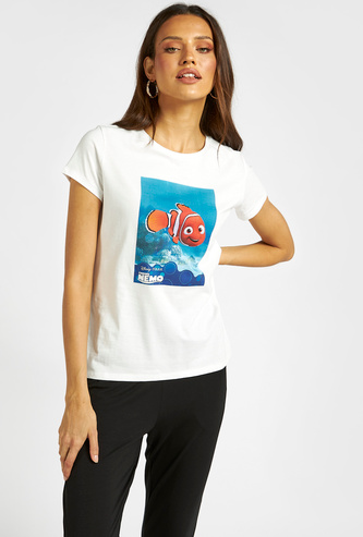 Finding Nemo Graphic Print T-shirt with Round Neck and Short Sleeves