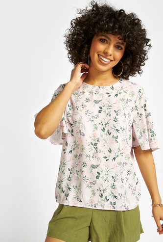 All-Over Floral Print Top with Round Neck and Short Sleeves