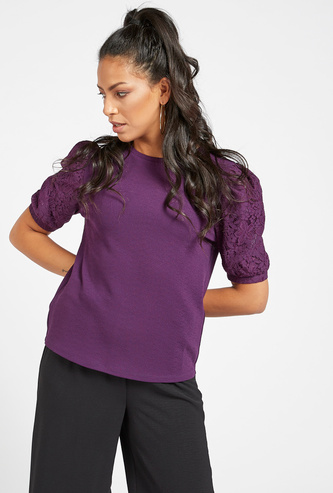 Solid Round Neck Top with Lace Volume Sleeves