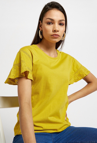 Solid Round Neck Top with Embroidered Short Sleeves