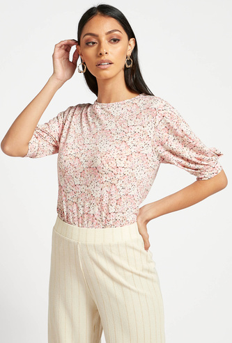 Floral Print Top with Round Neck and Volume Sleeves