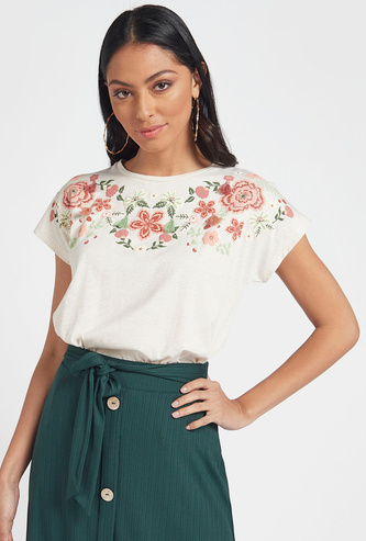 Floral Embroidered T-shirt with Cap Sleeves and Round Neck