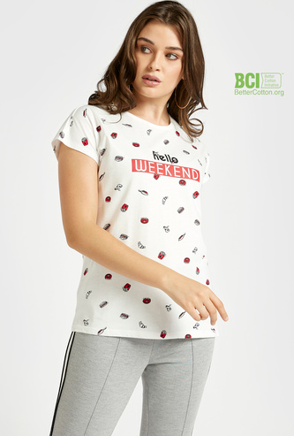 All-Over Print Round Neck T-shirt with Cap Sleeves