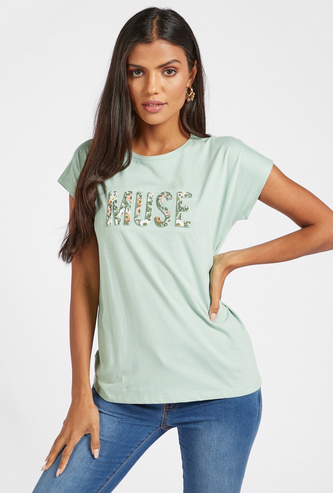 Text Embossed Detail T-shirt with Round Neck and Cap Sleeves