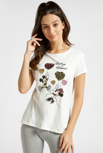 Mickey and Minnie Mouse Sequin Detail T-shirt with Cap Sleeves