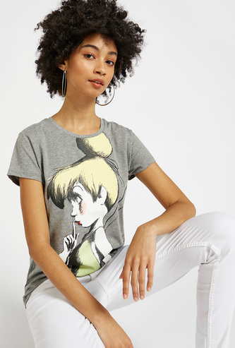 Tinker Bell Print T-shirt with Round Neck and Cap Sleeves