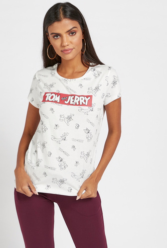 All-Over Tom and Jerry Print T-shirt with Round Neck and Cap Sleeves