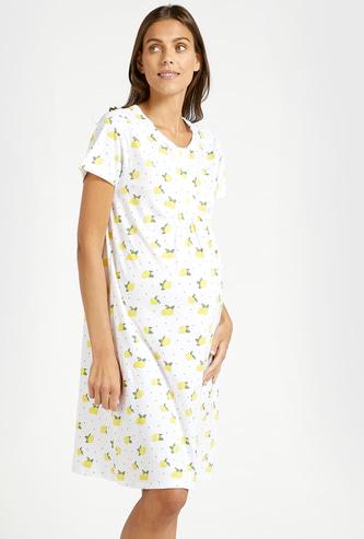 قميص نوم للحوامل بطبعات أزهار وياقة مستديرة وأكمام قصيرة