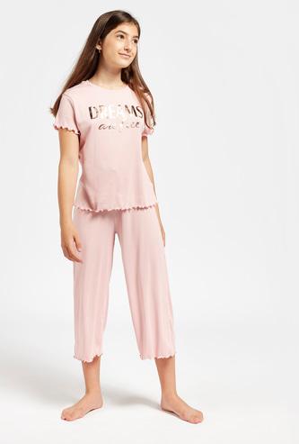 Foil Print Ribbed Short Sleeves T-shirt and 3/4 Pyjama Set