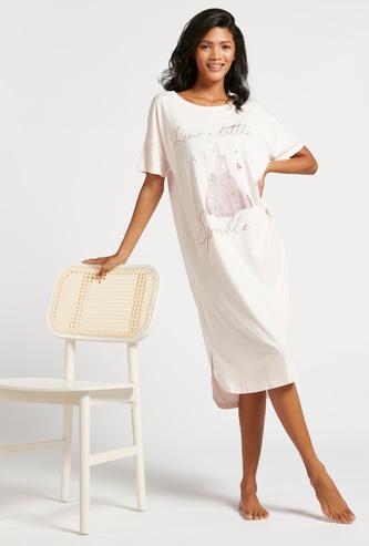 Cinderella Graphic Print Sleepshirt with Round Neck and Short Sleeves