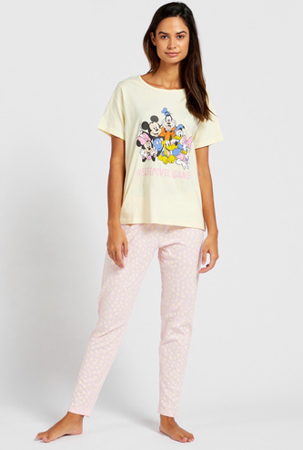 Mickey Mouse & Friends Graphic Print T-shirt and Pyjama Set