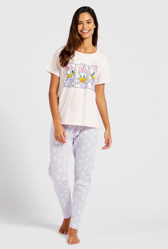 Daisy Duck Graphic Print Short Sleeves T-shirt and Pyjama Set