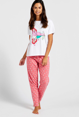 Ariel Graphic Print Short Sleeves T-shirt and Pyjama Set