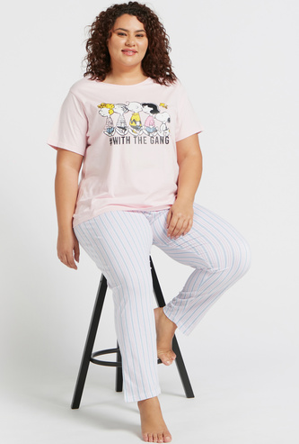 Snoopy Graphic Print T-shirt and Striped Pyjama Set