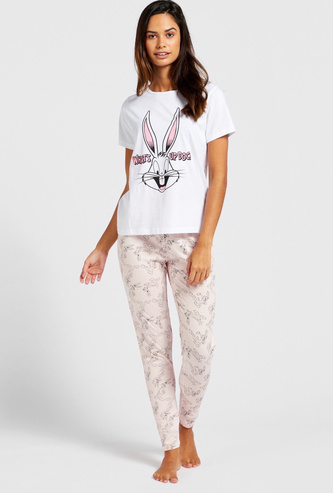 Bugs Bunny Print Round Neck T-shirt and Full Length Pyjama Set
