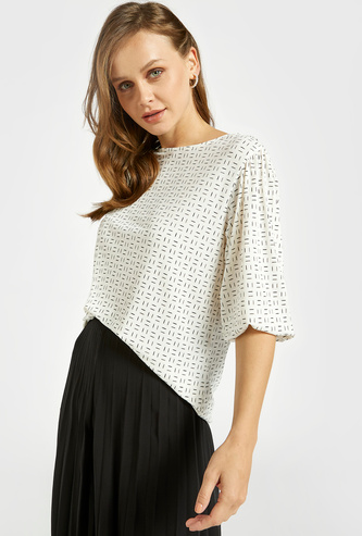 All-Over Print Top with Round Neck and 3/4 Sleeves