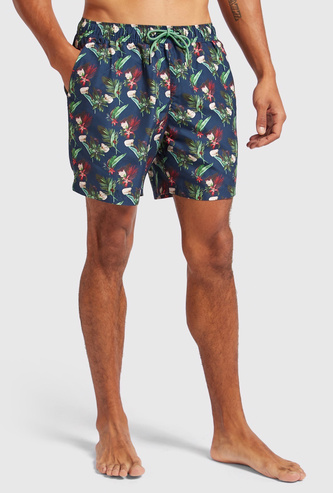 All Over Print Surfer Shorts with Drawstring Waist and Pockets