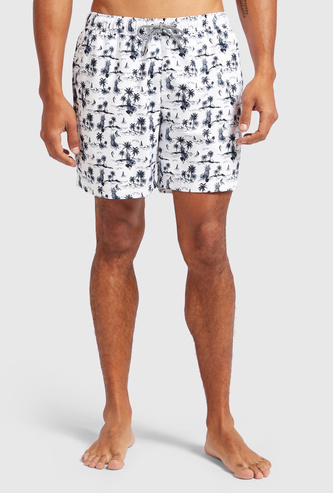All-Over Print Shorts with Elasticised Drawstring Waistband