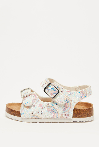 Rainbow Print Open Toe Sandals with Buckle Closure