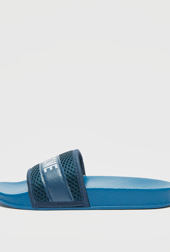 Printed Beach Slides with Textured Strap
