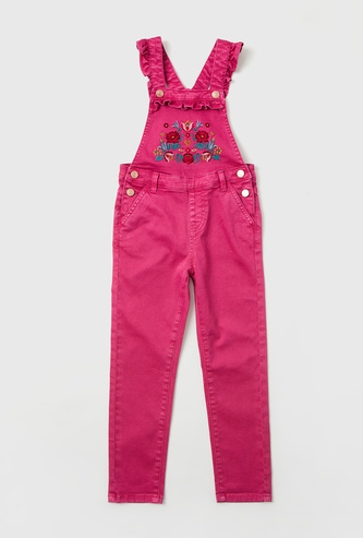 Floral Embroidered Full-Length Dungarees