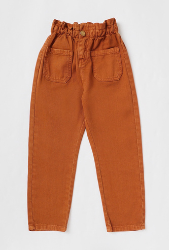 Solid Jeans with Paper Bag Waist and Pocket Detail