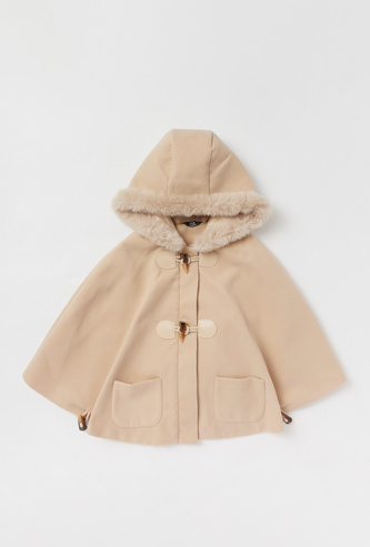 Solid Hooded Cape with Pockets and Zip Closure