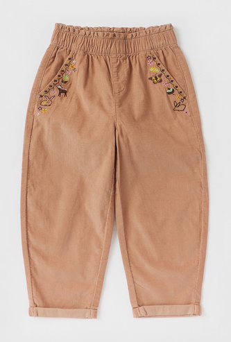 Embroidered Corduroy Trousers with Elasticated Waistband