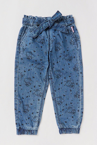 Hello Kitty Print Mid-Rise Joggers with Elasticated Drawstring Closure