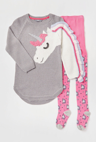 Unicorn Textured Sweater Dress with Printed Stockings