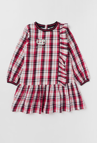 Checked Dress with Long Sleeves and Frill Detail